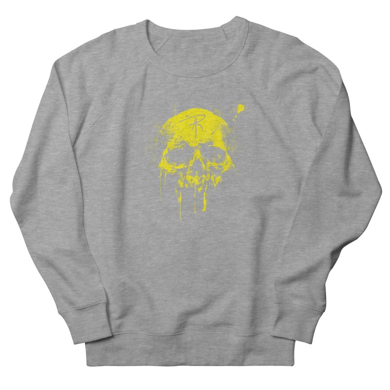 Aaron J. Riley Skull Design Yellow Women's French Terry Sweatshirt by aaronjriley's Artist Shop
