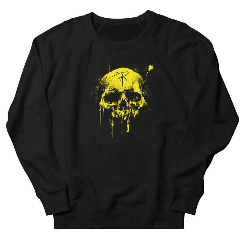 Aaron J. Riley Skull Design Yellow Men's French Terry Sweatshirt by aaronjriley's Artist Shop