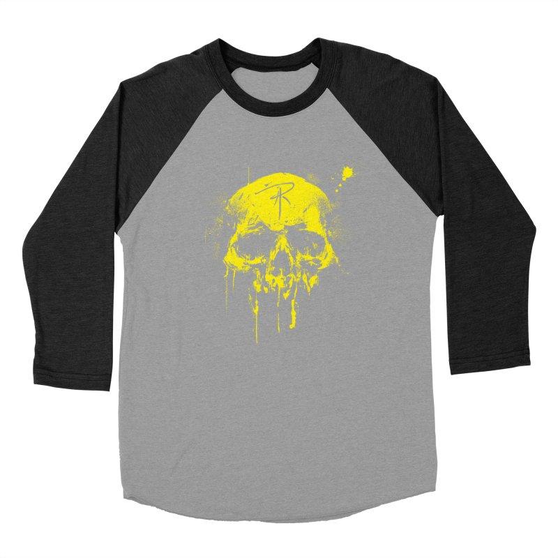Aaron J. Riley Skull Design Yellow Women's Baseball Triblend Longsleeve T-Shirt by aaronjriley's Artist Shop