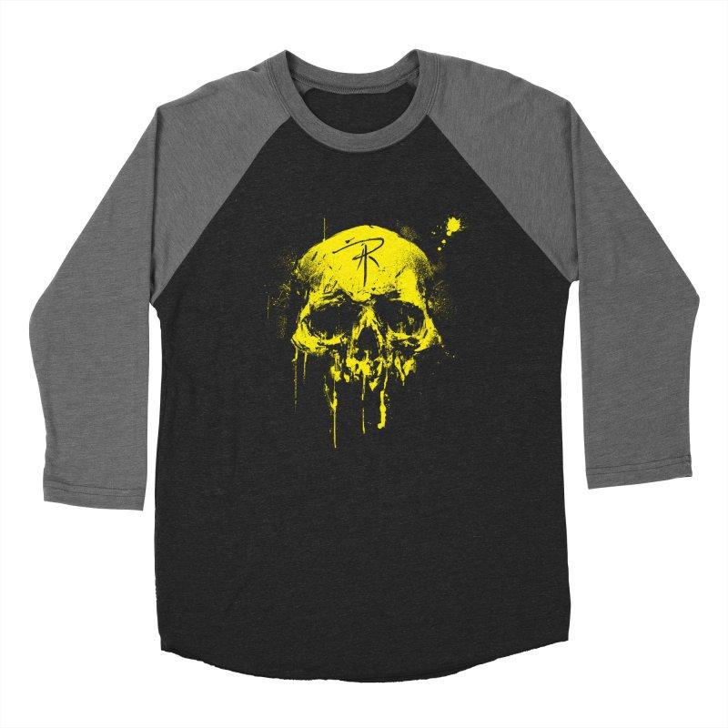 Aaron J. Riley Skull Design Yellow Men's Baseball Triblend Longsleeve T-Shirt by aaronjriley's Artist Shop
