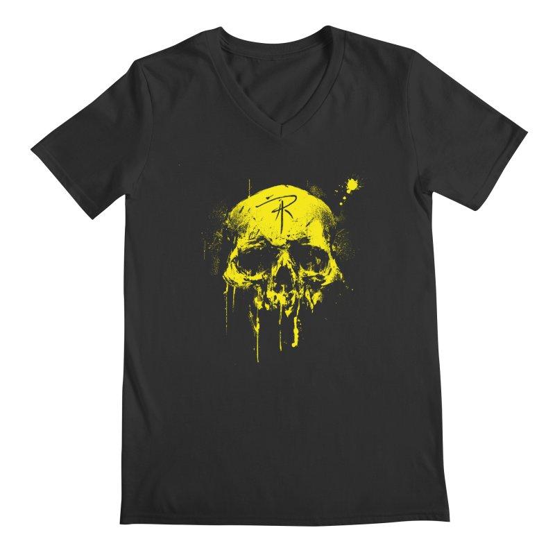Aaron J. Riley Skull Design Yellow Men's V-Neck by aaronjriley's Artist Shop