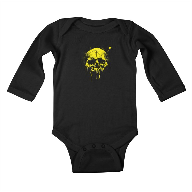 Aaron J. Riley Skull Design Yellow Kids Baby Longsleeve Bodysuit by aaronjriley's Artist Shop