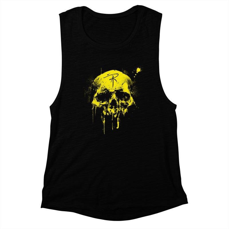 Aaron J. Riley Skull Design Yellow Women's Muscle Tank by aaronjriley's Artist Shop