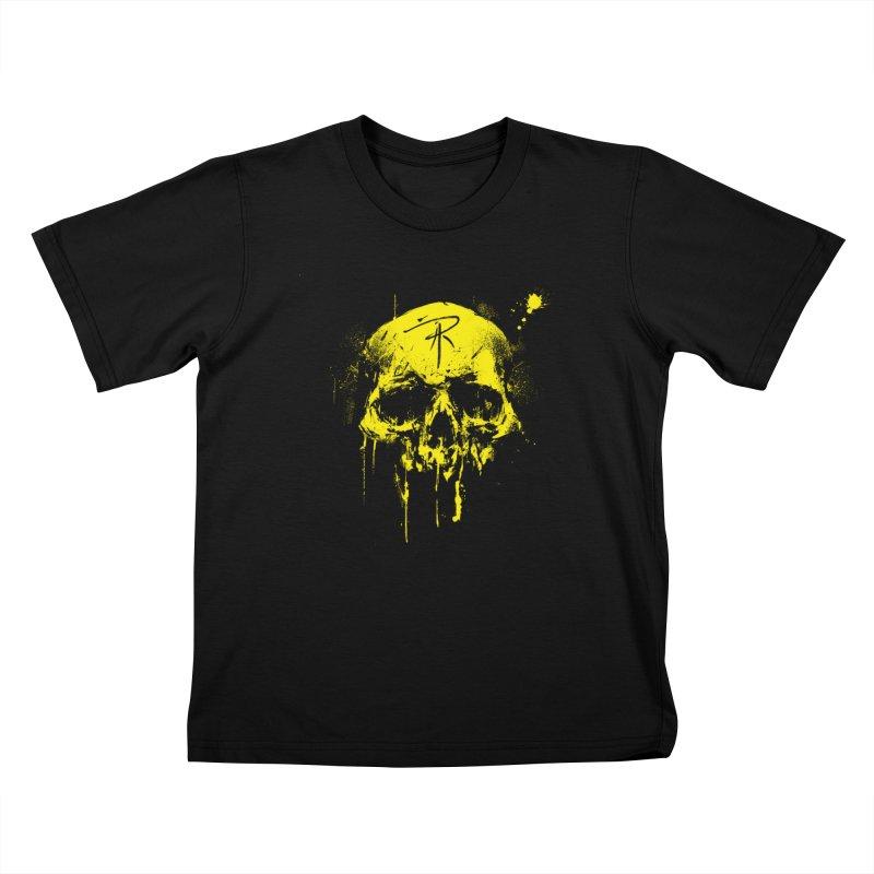 Aaron J. Riley Skull Design Yellow Kids T-Shirt by aaronjriley's Artist Shop