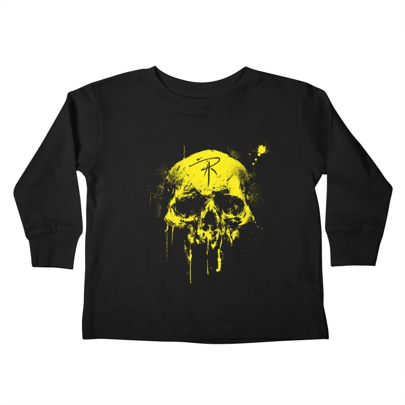 Aaron J. Riley Skull Design Yellow Kids Toddler Longsleeve T-Shirt by aaronjriley's Artist Shop