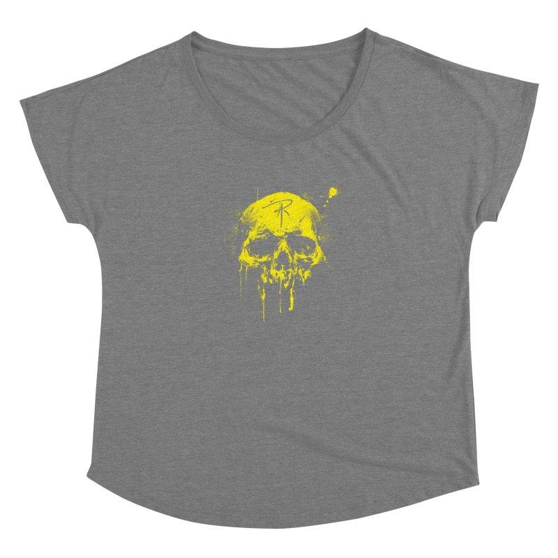 Aaron J. Riley Skull Design Yellow Women's Dolman Scoop Neck by aaronjriley's Artist Shop