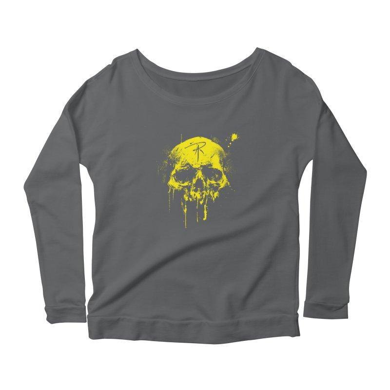 Aaron J. Riley Skull Design Yellow Women's Scoop Neck Longsleeve T-Shirt by aaronjriley's Artist Shop