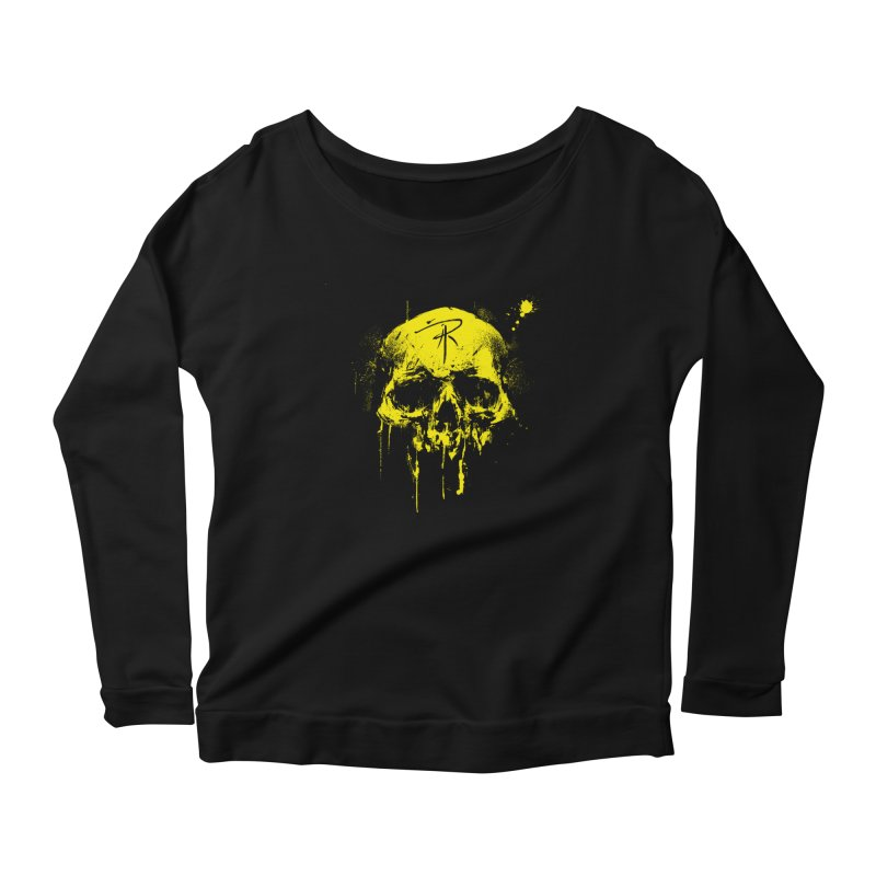 Aaron J. Riley Skull Design Yellow Women's Scoop Neck Longsleeve T-Shirt by aaronjriley's Artist Shop