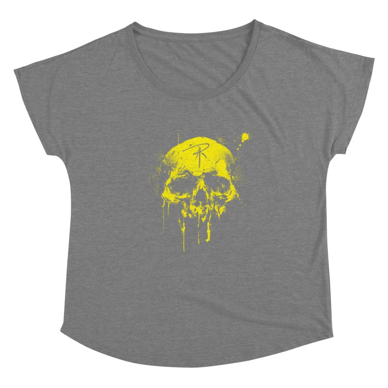 Aaron J. Riley Skull Design Yellow Women's Scoop Neck by aaronjriley's Artist Shop