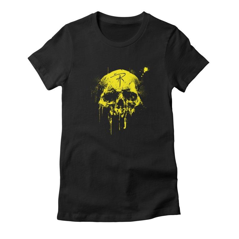 Aaron J. Riley Skull Design Yellow Women's T-Shirt by aaronjriley's Artist Shop