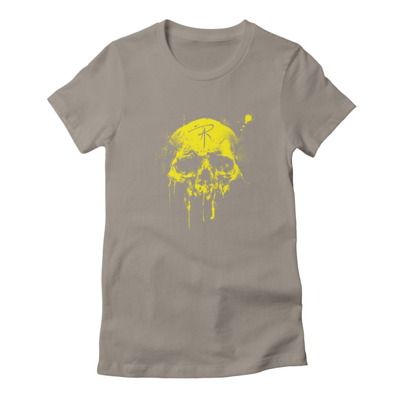 Aaron J. Riley Skull Design Yellow Women's T-Shirt by aaronjriley's Artist Shop