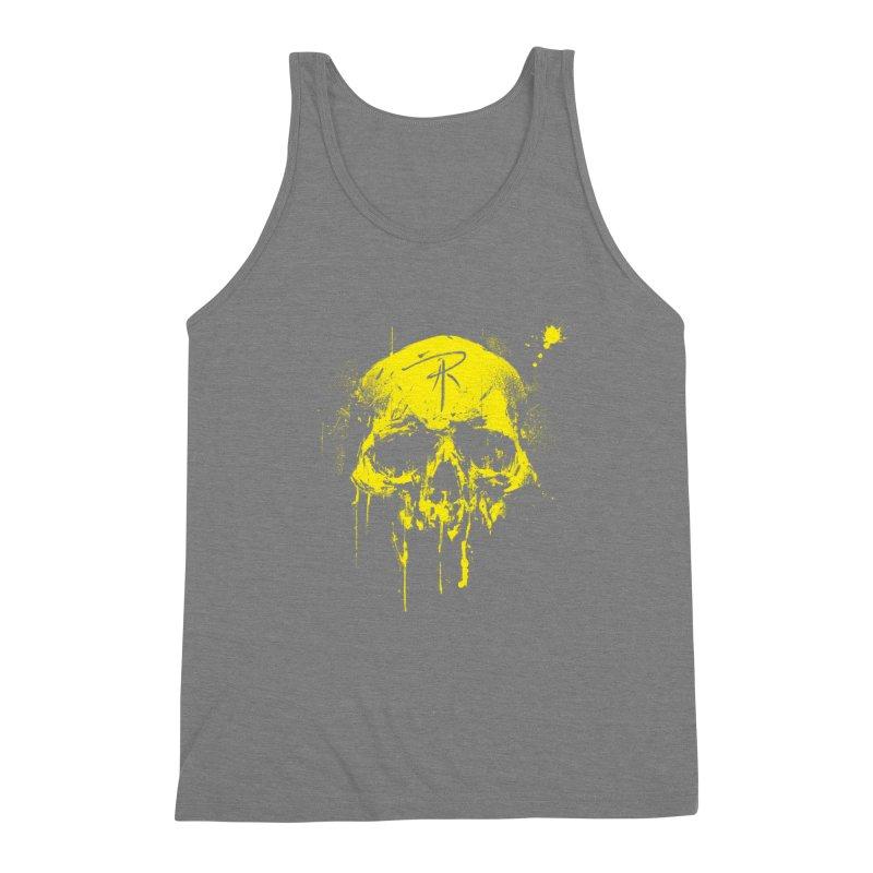 Aaron J. Riley Skull Design Yellow Men's Triblend Tank by aaronjriley's Artist Shop