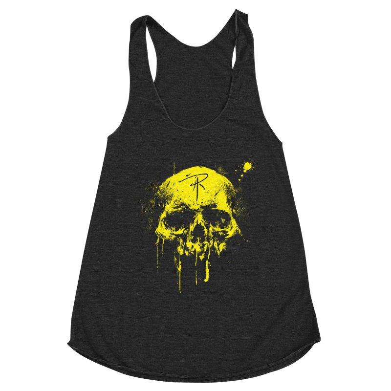 Aaron J. Riley Skull Design Yellow Women's Racerback Triblend Tank by aaronjriley's Artist Shop
