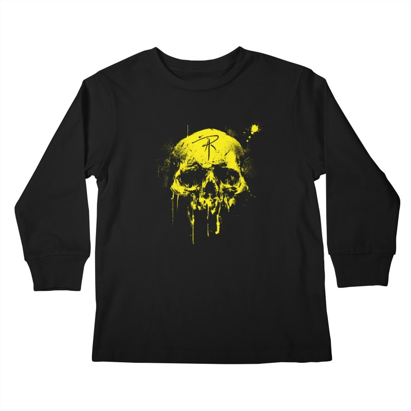 Aaron J. Riley Skull Design Yellow Kids Longsleeve T-Shirt by aaronjriley's Artist Shop