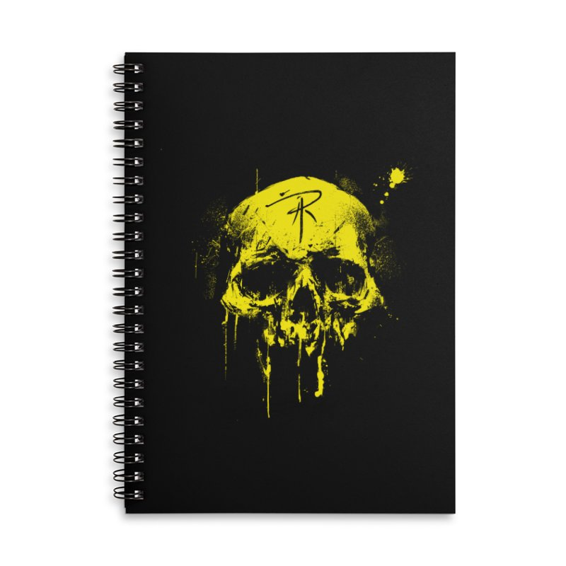 Aaron J. Riley Skull Design Yellow in Lined Spiral Notebook by aaronjriley's Artist Shop