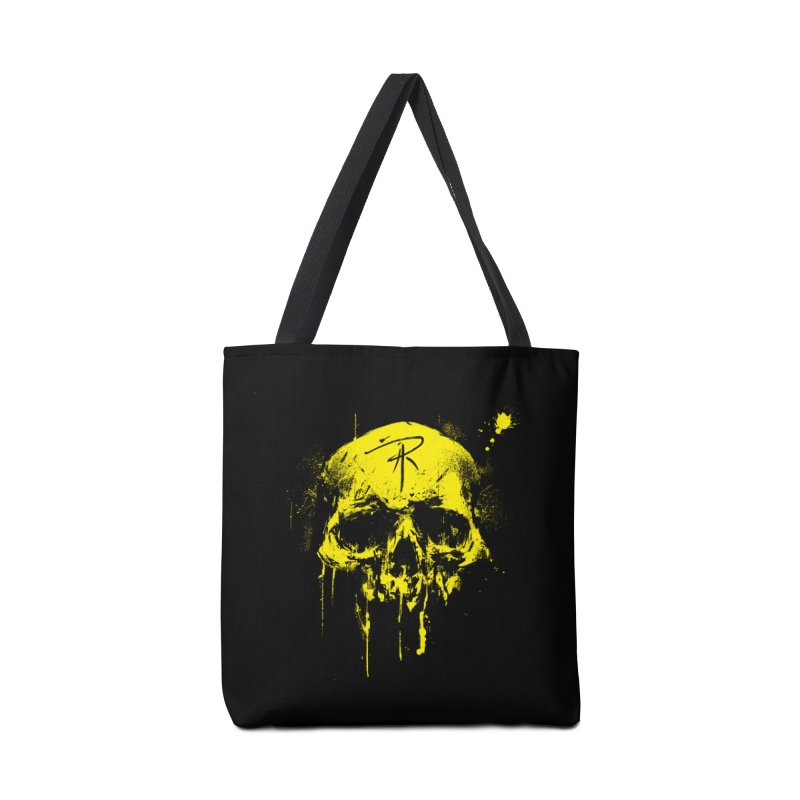 Aaron J. Riley Skull Design Yellow Accessories Bag by aaronjriley's Artist Shop
