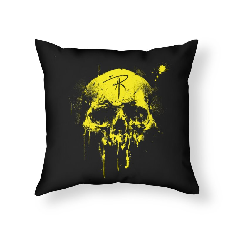 Aaron J. Riley Skull Design Yellow Home Throw Pillow by aaronjriley's Artist Shop