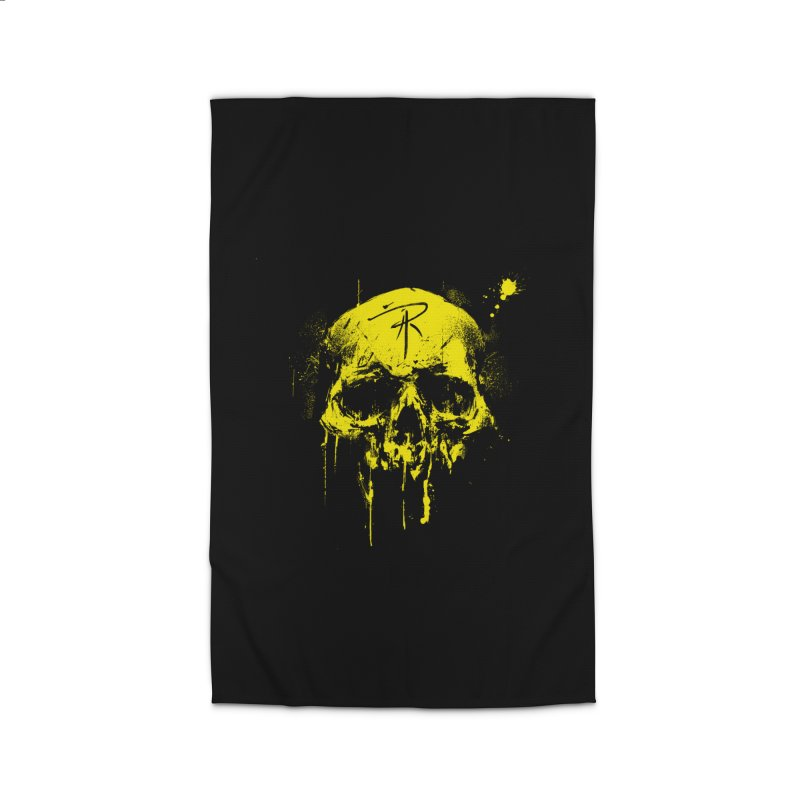 Aaron J. Riley Skull Design Yellow Home Rug by aaronjriley's Artist Shop