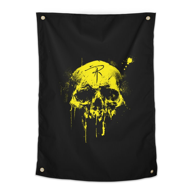 Aaron J. Riley Skull Design Yellow Home Tapestry by aaronjriley's Artist Shop