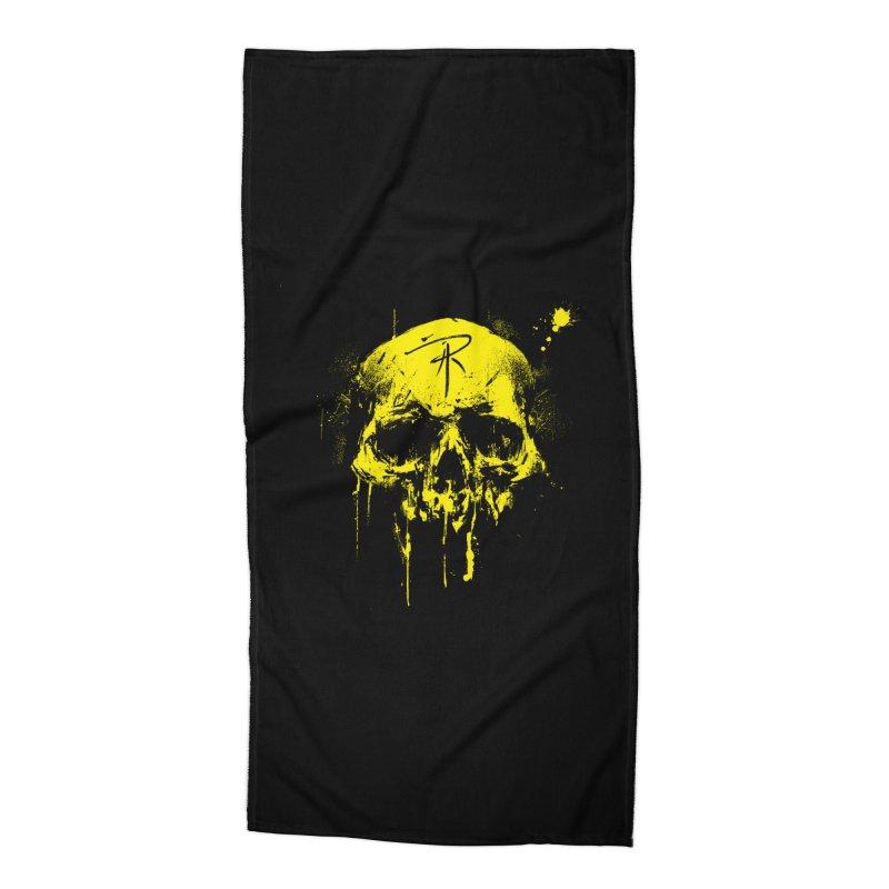 Aaron J. Riley Skull Design Yellow Accessories Beach Towel by aaronjriley's Artist Shop