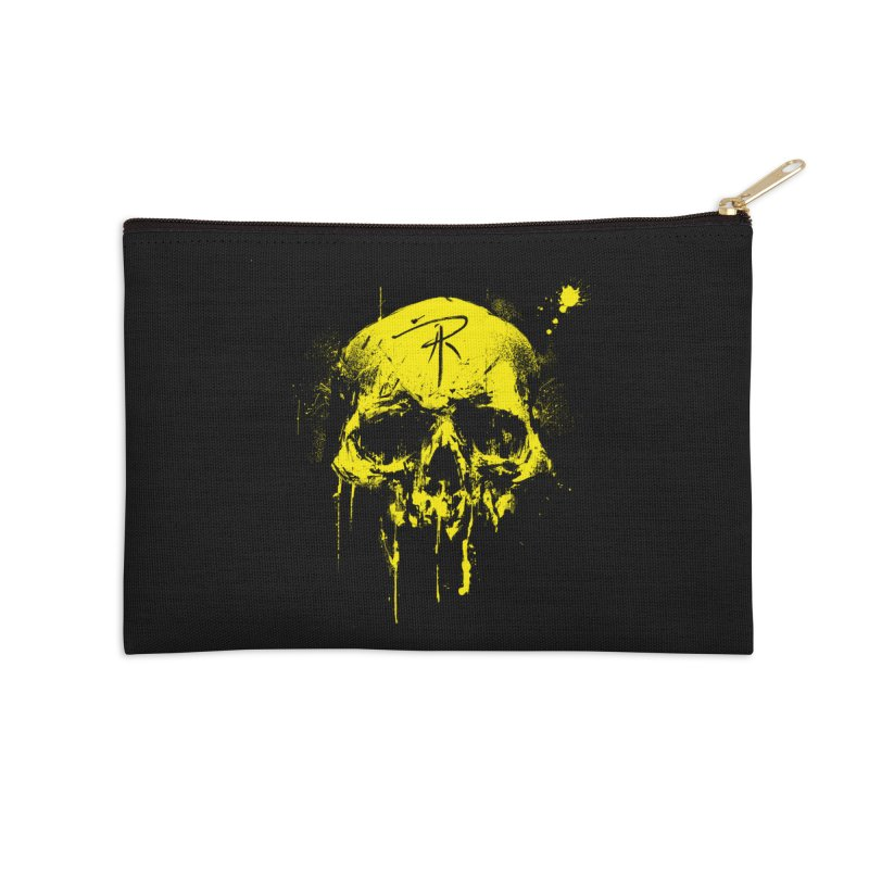 Aaron J. Riley Skull Design Yellow Accessories Zip Pouch by aaronjriley's Artist Shop