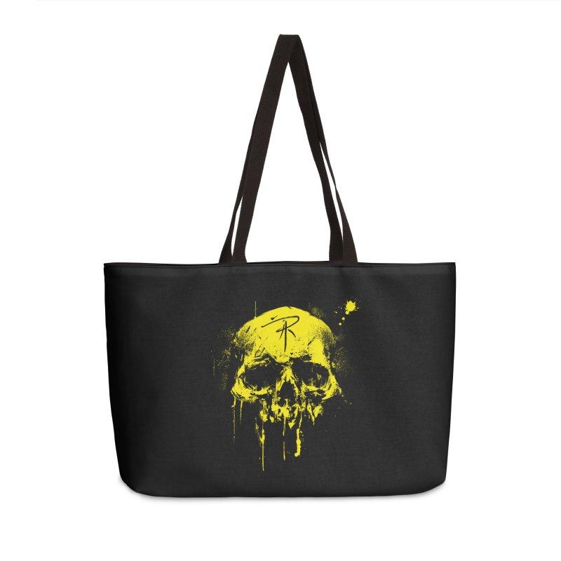 Aaron J. Riley Skull Design Yellow Accessories Weekender Bag Bag by aaronjriley's Artist Shop