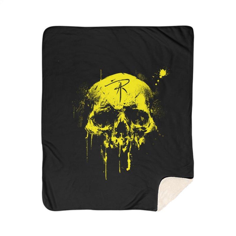 Aaron J. Riley Skull Design Yellow Home Sherpa Blanket Blanket by aaronjriley's Artist Shop