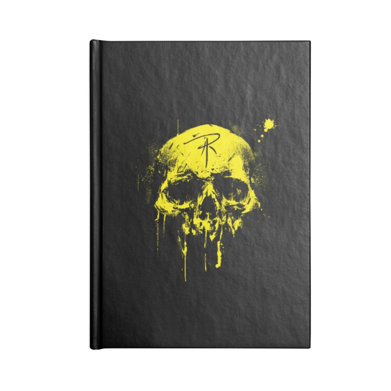 Aaron J. Riley Skull Design Yellow Accessories Lined Journal Notebook by aaronjriley's Artist Shop