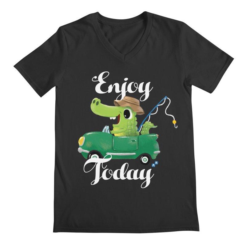 Enjoy Today Men's V-Neck by aaronrandy's Artist Shop
