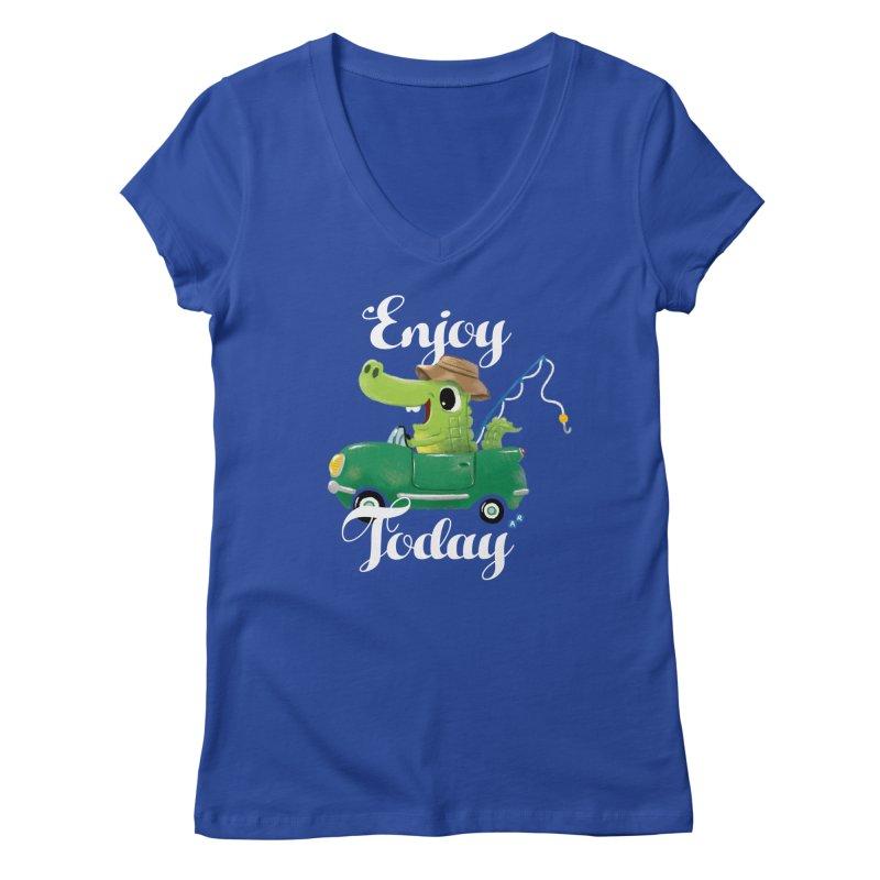 Enjoy Today Women's V-Neck by aaronrandy's Artist Shop