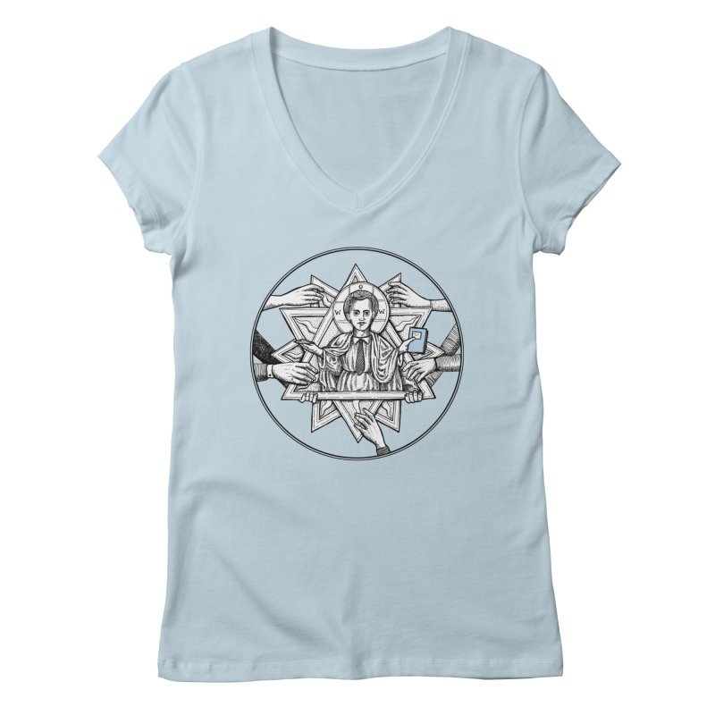 Bless & Grace Nerd Women's V-Neck by abbey's Artist Shop