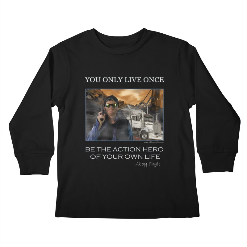 Action Hero t-shirt - Black Kids Longsleeve T-Shirt by Abby Eagle