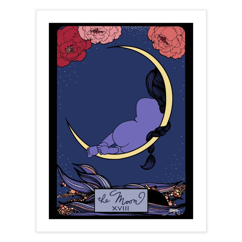 Original Illustrated Tarot Cards: The Moon Home Fine Art Print by abbyfitzgibbon's Artist Shop