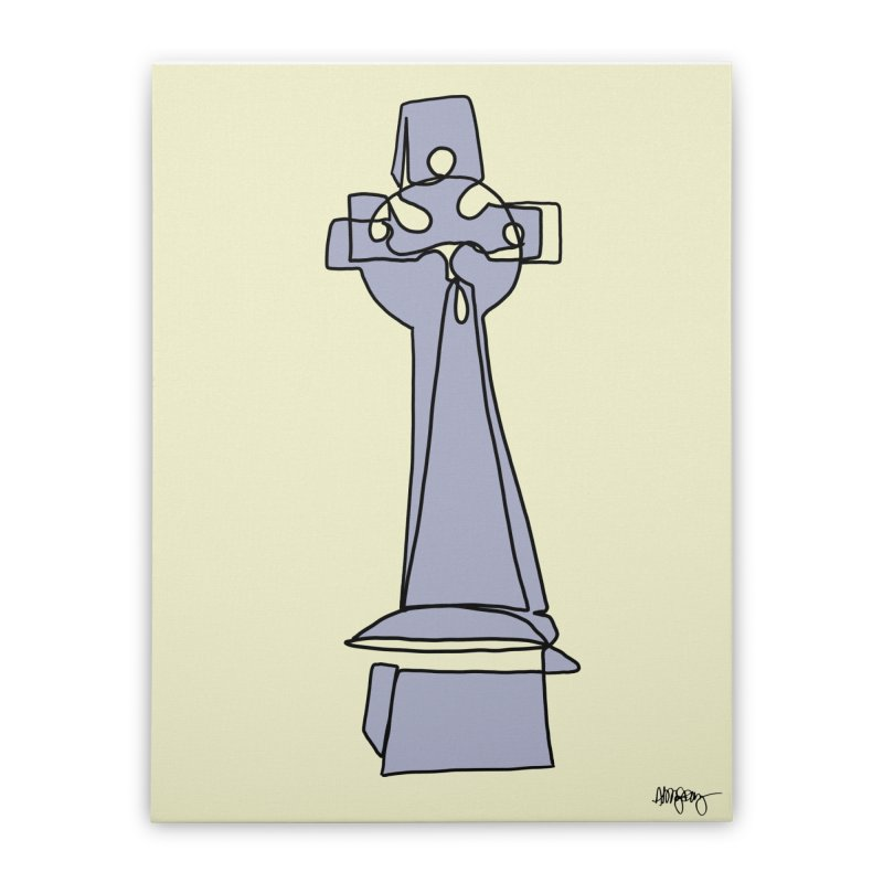Baltimore @ Red Lights series: Greenmount Cemetery - Cross Headstone Home Stretched Canvas by abbyfitzgibbon's Artist Shop