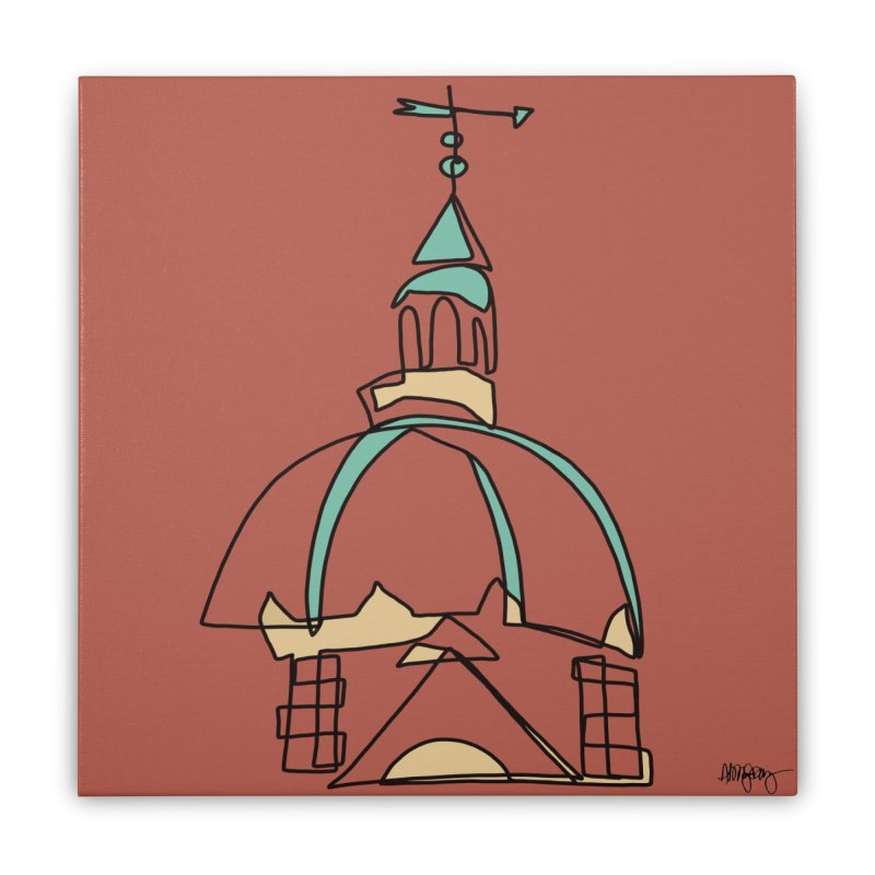 Baltimore @ Red Lights series: Johns Hopkins dome Home Stretched Canvas by abbyfitzgibbon's Artist Shop