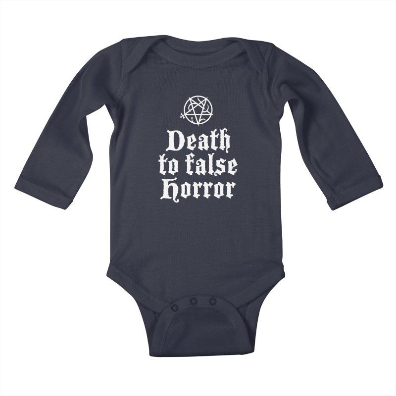 Death to False Horror Kids Baby Longsleeve Bodysuit by ABELACLE.