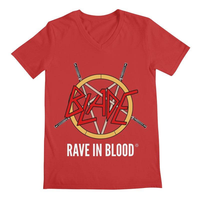 Rave in Blood Men's V-Neck by ABELACLE.