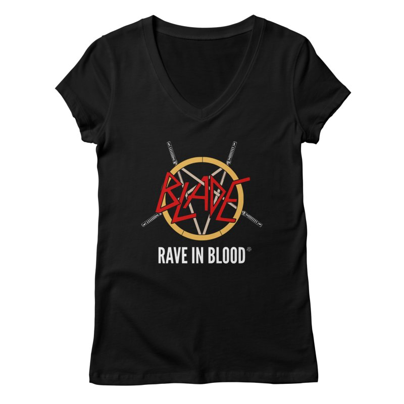 Rave in Blood Women's V-Neck by ABELACLE.