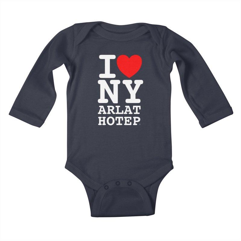 I Love Nyarlathotep - WHITE INK Kids Baby Longsleeve Bodysuit by ABELACLE.