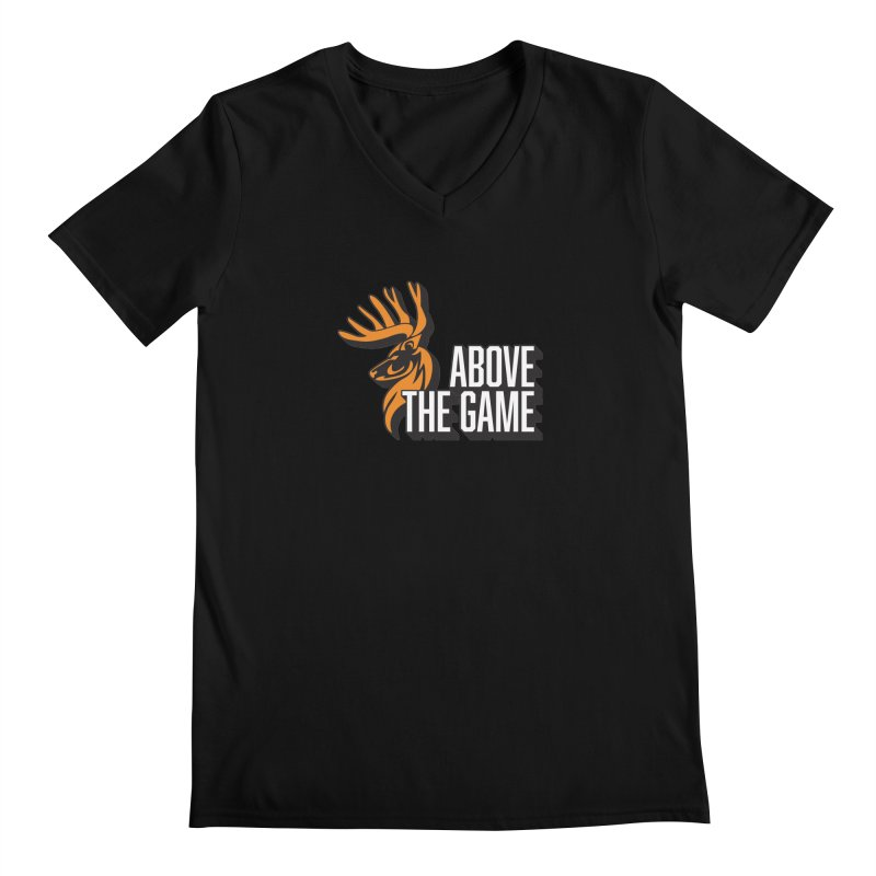 Above The Game - White Logo Men's Regular V-Neck by abovethegame's Artist Shop