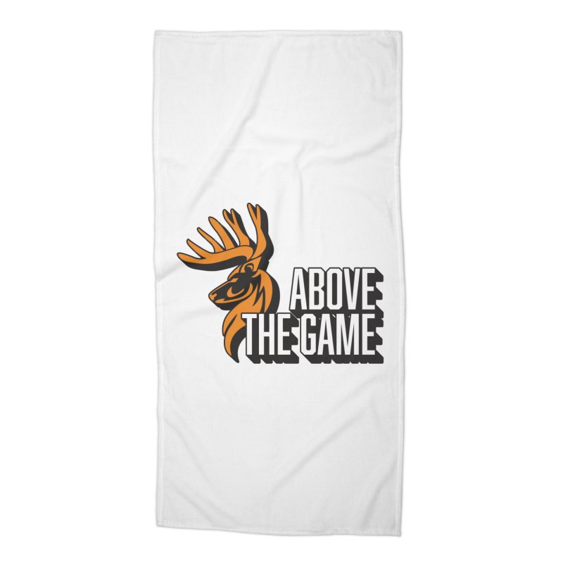 Above The Game - White Logo Accessories Beach Towel by abovethegame's Artist Shop