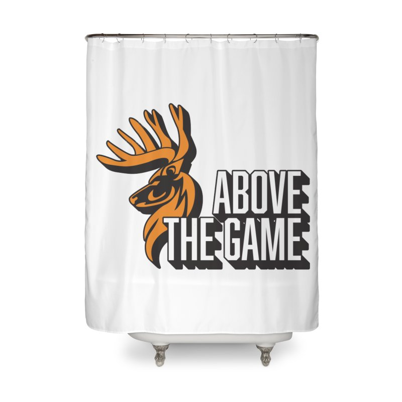Above The Game - White Logo Home Shower Curtain by abovethegame's Artist Shop