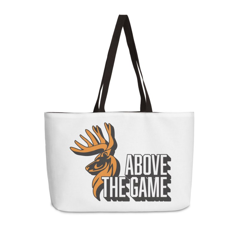 Above The Game - White Logo Accessories Weekender Bag Bag by abovethegame's Artist Shop