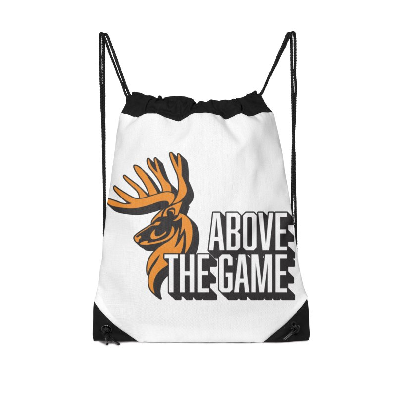 Above The Game - White Logo Accessories Drawstring Bag Bag by abovethegame's Artist Shop