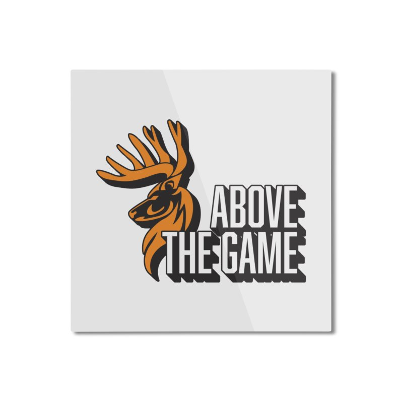 Above The Game - White Logo Home Mounted Aluminum Print by abovethegame's Artist Shop