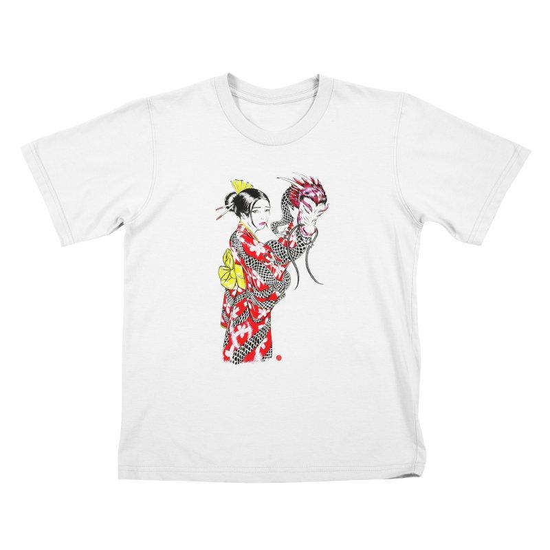 Dragon Kimono Kids T-Shirt by abrahambalcazar's Artist Shop