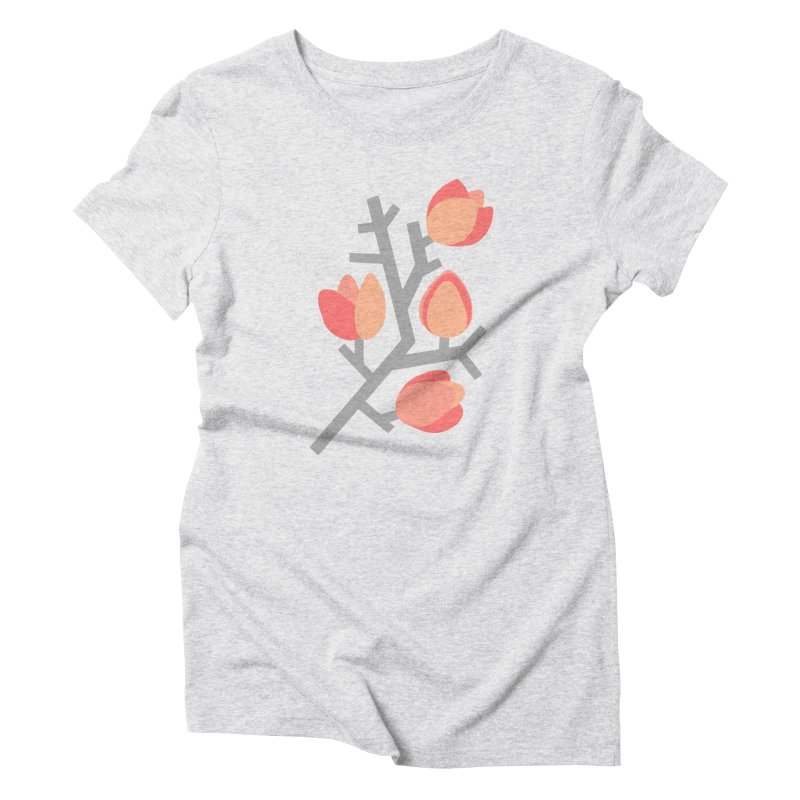 Coral Floral with Blue Background Women's T-Shirt by Abroadland Art