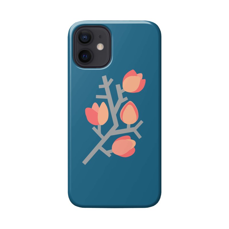 Coral Floral with Blue Background Accessories Phone Case by Abroadland Art