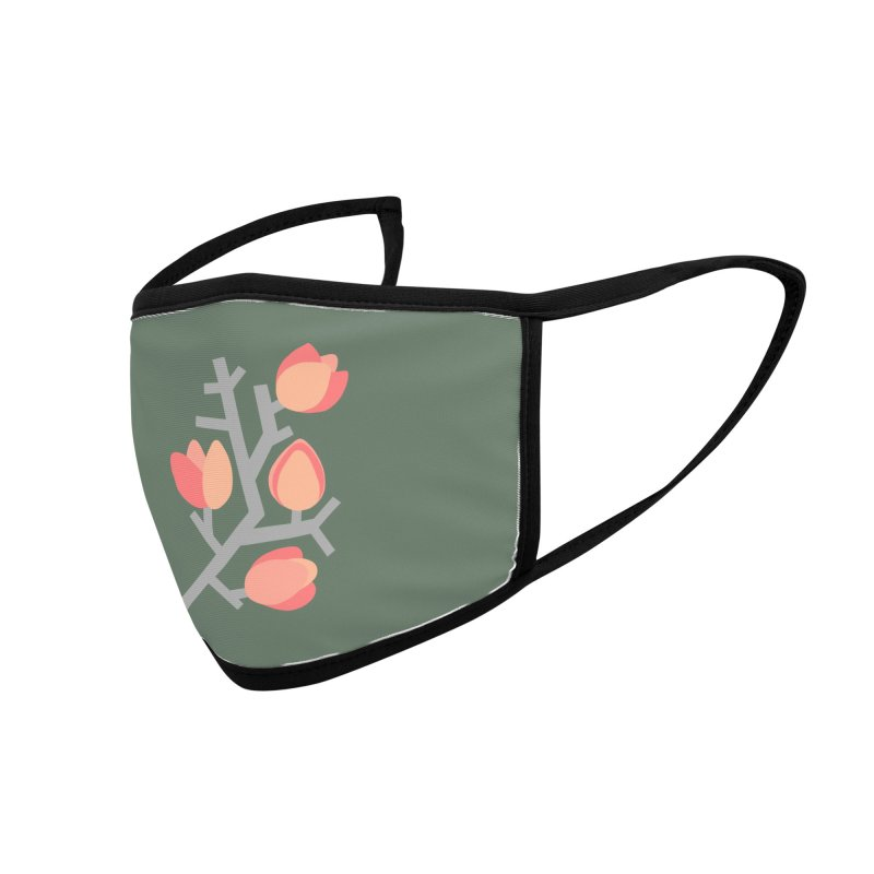 Coral Floral with Green Background Accessories Face Mask by Abroadland Art