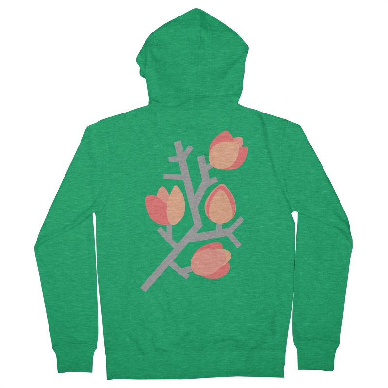 Coral Floral with Green Background Women's Zip-Up Hoody by Abroadland Art